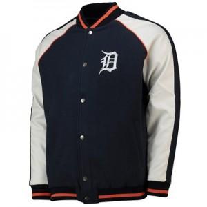 Detroit Tigers Letterman Jacket - Navy - Mens