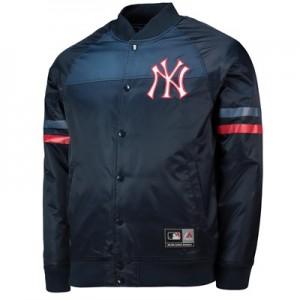 New York Yankees Satin Jacket - Navy - Mens