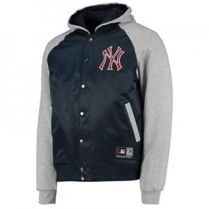 New York Yankees Hooded Jacket - Silver Marl - Mens