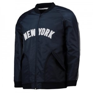 New York Yankees Satin Varsity Jacket - Black - Mens