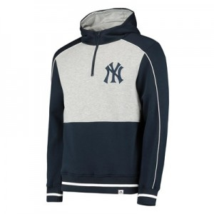 New York Yankees Fleece 1/4 Zip Hoody - Navy/Grey - Mens
