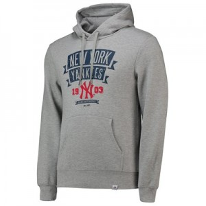 New York Yankees Fleece Graphic Hoody - Grey - Mens