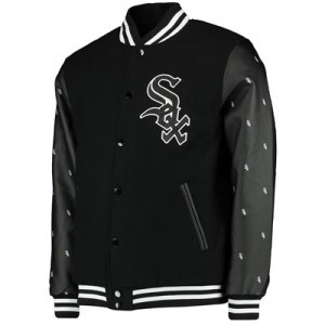 Chicago White Sox Wool Letterman Jacket - Black - Mens