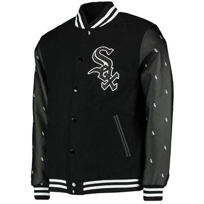 Chicago White Sox Wool Letterman Jacket - Black - Mens