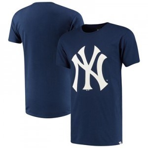 New York Yankees Prism Longline T-Shirt - Navy - Mens