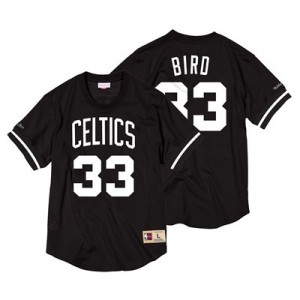 Boston Celtics Larry Bird Black & White Mesh Name & Number Crew - Mens