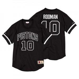 Detroit Pistons Dennis Rodman Black & White Mesh Name & Number Crew - Mens