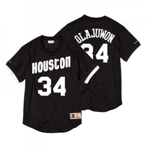 Houston Rockets Hakeem Olajuwon Black & White Mesh Name & Number Crew - Mens
