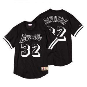 Los Angeles Lakers Magic Johnson Black & White Mesh Name & Number Crew - Mens