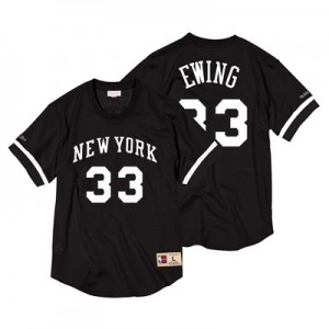 New York Knicks Patrick Ewing Black & White Mesh Name & Number Crew - Mens