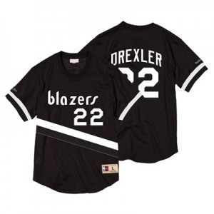Portland Trail Blazers Clyde Drexler Black & White Mesh Name & Number Crew - Mens
