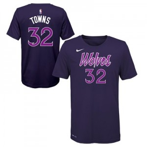 Minnesota Timberwolves Nike City Edition Name & Number T-Shirt - Karl-Anthony Towns - Youth