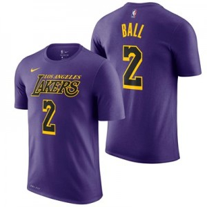 Los Angeles Lakers Nike City Edition Name & Number T-Shirt - Lonzo Ball - Mens