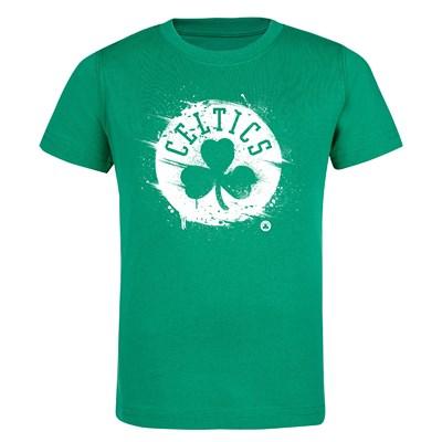 Boston Celtics Splatter Team Logo Core T-Shirt - Bright Kelly - Kids