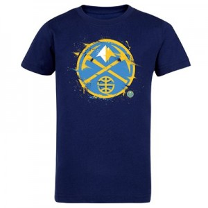 Denver Nuggets Splatter Team Logo Core T-Shirt - Navy - Kids