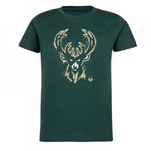Milwaukee Bucks Splatter Team Logo Core T-Shirt - Dark Green - Kids