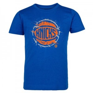 New York Knicks Splatter Team Logo Core T-Shirt - Royal - Kids