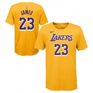 Los Angeles Lakers Nike LeBron James Name & Number T-Shirt - Amarillo - Youth