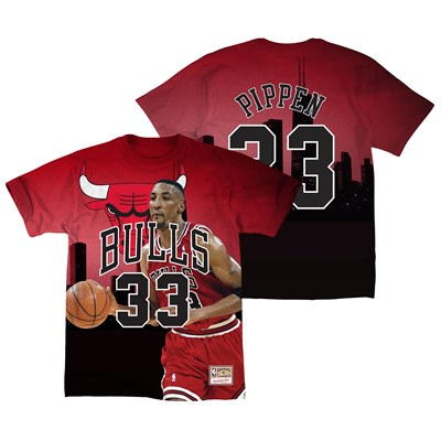 Chicago Bulls Pippen City Pride Name & Number T-Shirt By Mitchell & Ness - Mens