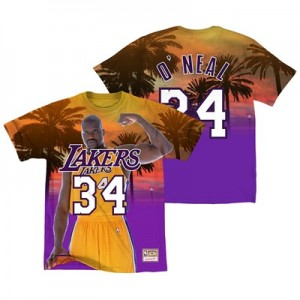 Los Angeles Lakers ONeal City Pride Name & Number T-Shirt By Mitchell & Ness - Mens