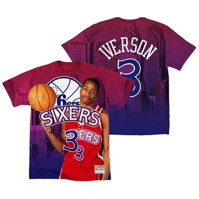Philadelphia 76ers Iverson City Pride Name & Number T-Shirt By Mitchell & Ness - Mens