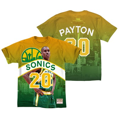 Seattle Supersonics Payton City Pride Name & Number T-Shirt By Mitchell & Ness - Mens