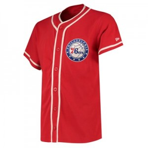Philadelphia 76ers New Era Piping Button Up Top - Mens