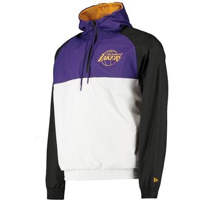 Los Angeles Lakers New Era Hooded 1/4 Zip Hooded Windbreaker - Mens