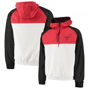 Chicago Bulls New Era Hooded 1/4 Zip Hooded Windbreaker - Mens