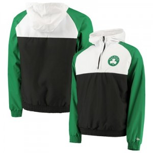 Boston Celtics New Era Hooded 1/4 Zip Hooded Windbreaker - Mens
