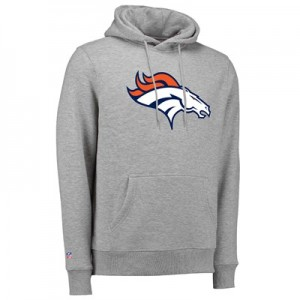 Denver Broncos Team Logo Core Hoodie - Athletic Grey - Mens