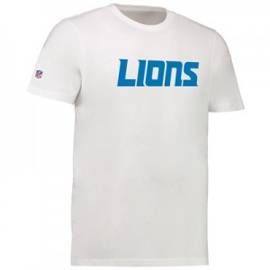 Detroit Lions Team Wordmark Core T-Shirt - White - Mens