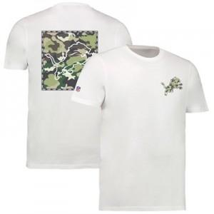 Detroit Lions Camo Team Logo Core T-Shirt - White - Mens