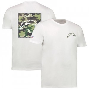 Los Angeles Chargers Camo Team Logo Core T-Shirt - White - Mens
