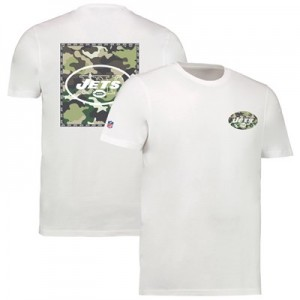 New York Jets Camo Team Logo Core T-Shirt - White - Mens