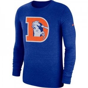 Denver Broncos Nike Tri Historic Crackle Long Sleeve T-Shirt - Mens