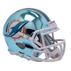Miami Dolphins Chrome Alternate Speed Mini Helmet