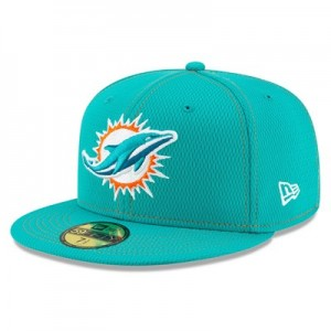 Miami Dolphins New Era 2019 Official Road Sideline 59FIFTY Fitted Cap