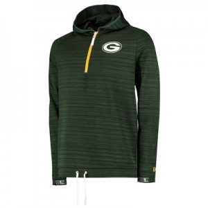 Green Bay Packers New Era Engineered Half Zip Hoodie - Mens