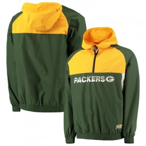 Green Bay Packers New Era Colour Block Half Zip Windbreaker - Mens