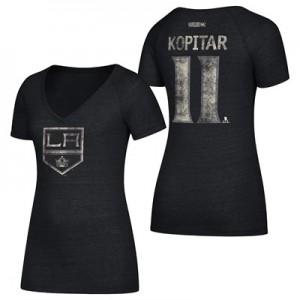 Los Angeles Kings CCM Anze Kopitar V-Neck Tri-Blend Name & Number V-Neck T-Shirt - Womens