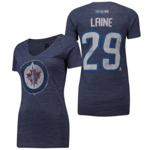 Winnipeg Jets CCM Patrick Laine Tri-Blend Name & Number V-Neck T-Shirt - Womens