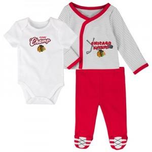 Chicago Blackhawks Bodysuit 3 Piece Set - Newborn