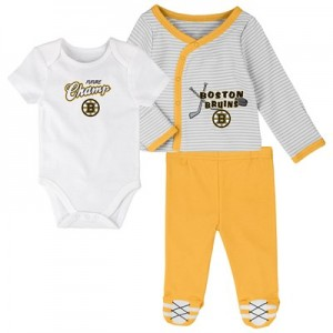 Boston Bruins Bodysuit 3 Piece Set - Newborn