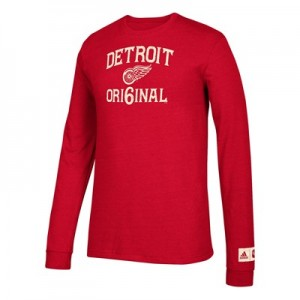 Detroit Red Wings adidas Original 6 Long Sleeve Tri-Blend T-Shirt - Mens