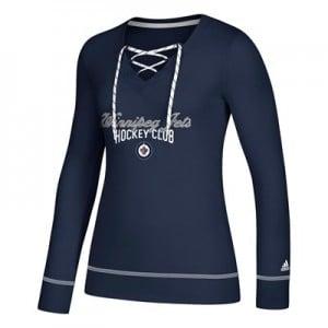 Winnipeg Jets adidas Skate Lace Top - Womens