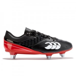 Canterbury Phoeniz Raze Soft Ground Rugby Boot - Black/True Red - Junior