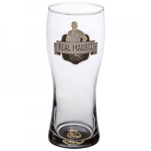Real Madrid Crest Pint Glass - Black