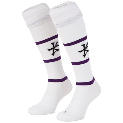 Leicester Tigers Alternate Replica Sock 2018/19 - White/Purple - Junior