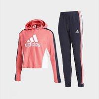 adidas Girls' Badge Of Sport Crop Hooded Tracksuit Junior - Hazy Rose